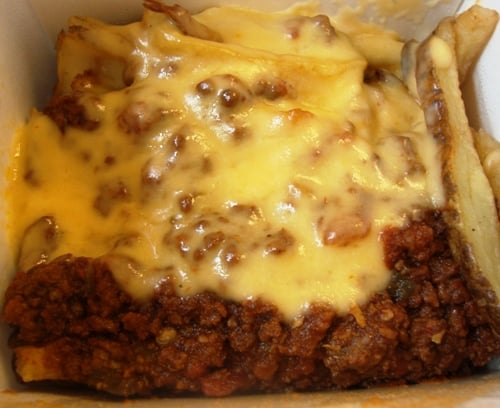 BROADWAY BURGER & CHILI CHEESE FRIES FROM FEED YOUR HOLE