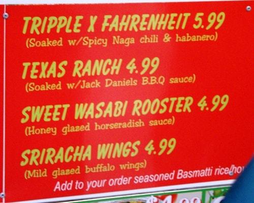 Juicy Wings menu