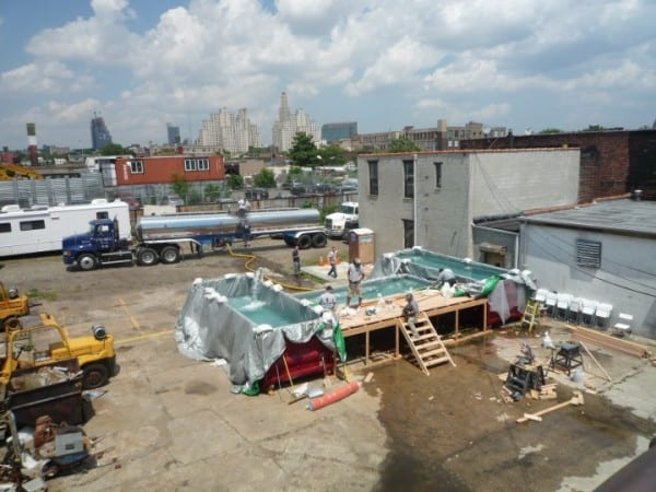 Shipping containers being repurposed for food service for Repurposed swimming pool